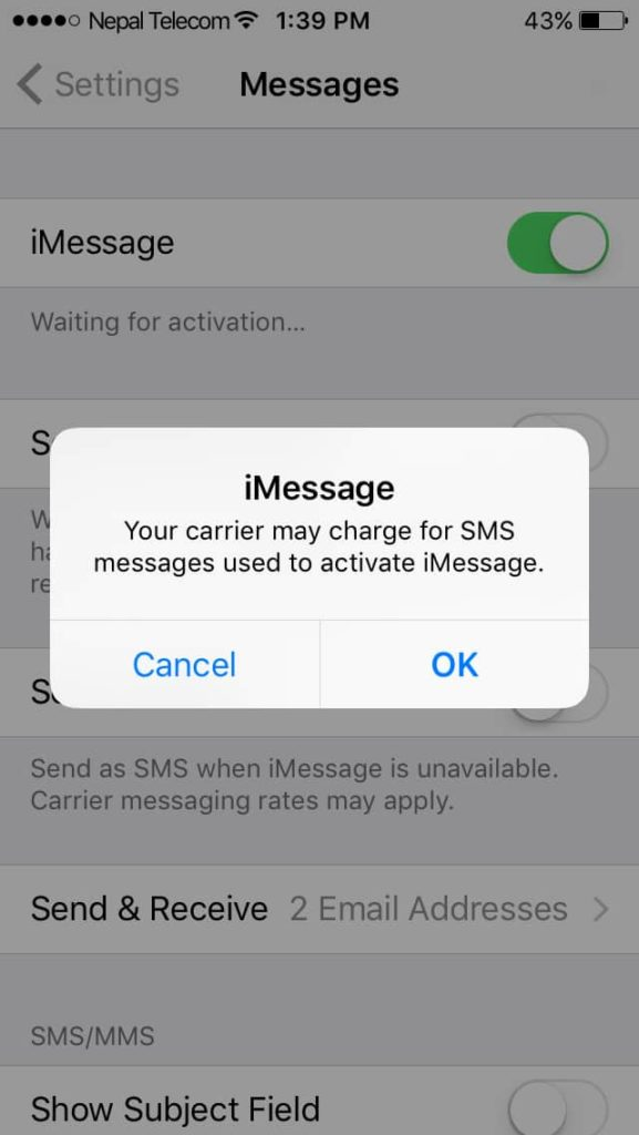 messaging waiting for activation