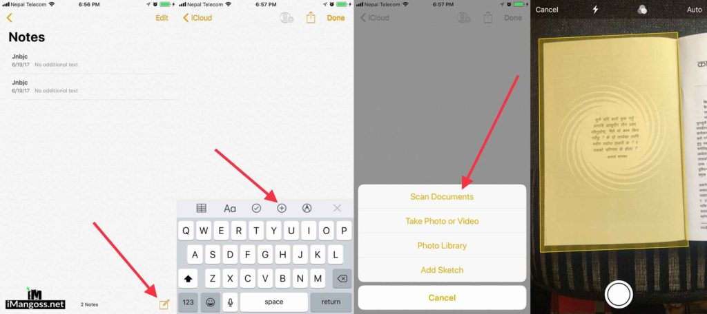 scan document ios 11 notes app